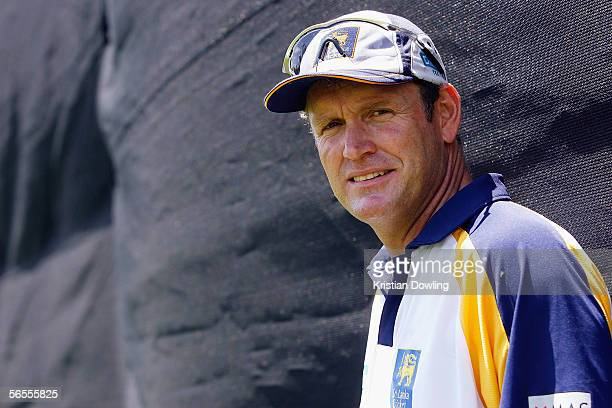 Sri Lankan Coach Tom Moody looks on during a Sri Lankan training session at Junction Oval on January 10 2005 in Melbourne Australia