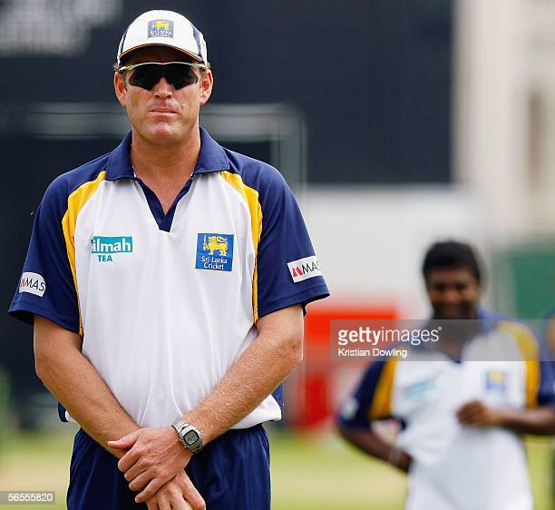 Sri Lankan coach Tom Moody stands in the umpire's poition as Muttiah Muralitharan of Sri Lanka prepares to bowl during a Sri Lankan training session...