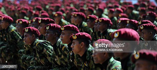 Sri Lankan commandos attend their graduation ceremony in Kudaoya in the southeastern Sri Lankan district of Moneragala on May 22 2010 Some 675...