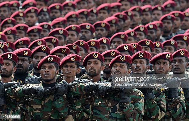 Sri Lankan commandos march during a Victory Day parade in the southern town of Matara on May 18 2014 The government is holding a military victory...