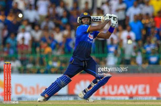 Sri Lankan cricket captain Angelo Mathews plays a shot during the 5th and final One Day International cricket match between Sri Lanka and South...