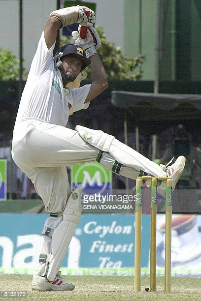 Sri Lankan cricket captain Hashan Tillakaratne plays a shot during the third day of the final Test match between Sri Lanka and Australia in Colombo26...