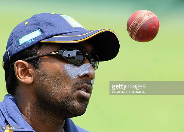 Sri Lankan cricket captain Mahela Jayawardene prepares to bowl during a practice session at The Sinhalese Sports Club Ground in Colombo on August 7,...