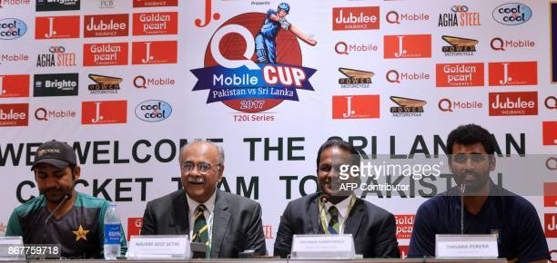 Sri Lankan cricket captain Thisara Perera speaks along with Sri Lanka Cricket President Thilanga Sumathipala Chairman of Pakistan Cricket Board Najam...