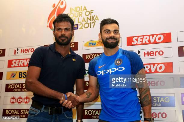 Sri Lankan cricket captain Upul Tharanaga and Indian cricket captain Virat Kohli pose for a photograph after a press conference at Colombo Sri Lanka...