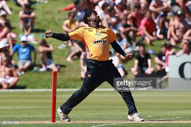 Sri Lankan cricket legend and World Record wicket taker Muttiah Muralidharan bowling in the Otago Voltz V Wellington Firebirds HRV Cup match at the...