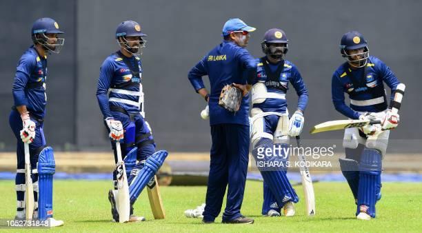 Sri Lankan cricket team captain Dinesh Chandima batting coach Thilan Samaraweera cricketers Kusal Mendis Sadeera Samarawickrama and Niroshan...
