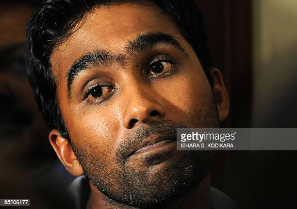 Sri Lankan cricket team captain Mahela Jayawardene speaks with journalists after their return to Colombo on March 4 2009 following the team's escape...