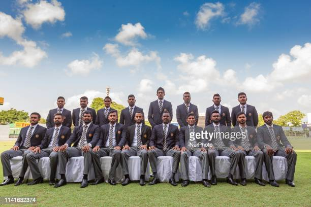 Sri Lankan cricket team pose for a photograph prior to leaving for ICC cricket World Cup 2019 at SSC cricket ground Colombo Sri Lanka