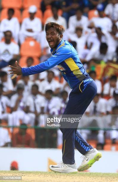 Sri Lankan cricketer Akila Dananjaya appeals during the 4th One Day International cricket match between Sri Lanka and England at the Pallekele...