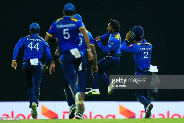 Sri Lankan cricketer and spinning bowler Akila Dananjaya in celebration mood after taking 5 wickets during the 2nd One Day International cricket...