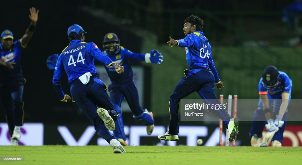 Sri Lankan cricketer and spinning bowler Akila Dananjaya in celebration mood after taking a wicket during the 2nd One Day International cricket match between Sri Lanka and India at the Pallekele international cricket stadium at Kandy, Sri Lanka on Thursday 24 August 2017.
