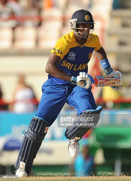 Sri Lankan cricketer Angelo Mathews takes a run during the ICC World Twenty20 Super Eight match between Sri Lanka and India at the Beausejour Cricket...