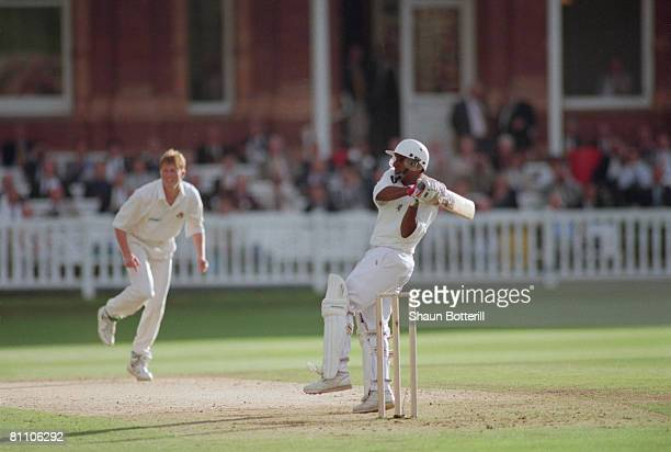 Sri Lankan cricketer Aravinda de Silva batting during his innnings of 112 for Kent against Lancashire at Lord's London 15th July 1995