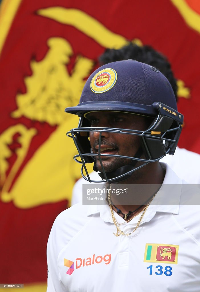Sri Lankan cricketer Asela Gunaratne who ensured Sri Lankan cricket team pull off the highest successful run chase in a test match in Asia walks away during the final day's play in the only test match between Sri Lanka and Zimbabwe at R Premadasa International Cricket stadium, Colombo, Sri Lanka on Tuesday 18 July 2017