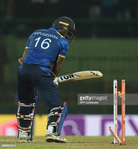 Sri Lankan cricketer Chamara Kapugedera dismissing by Indian cricketer Jasprit Bumrah during the second one day international cricket match between...