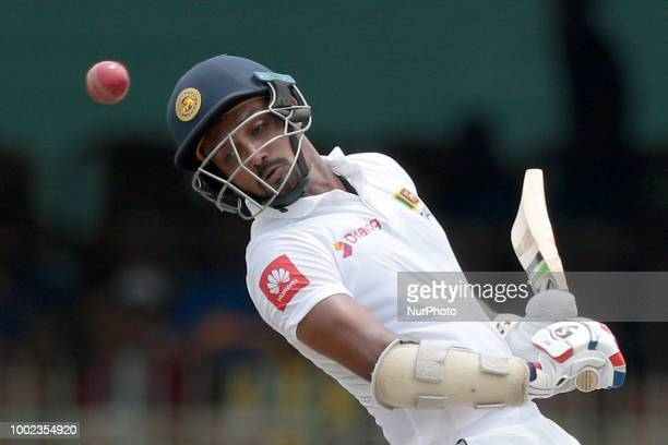Sri Lankan cricketer Danushka Gunathilaka avoids a bouncer delivery during the first day of the 2nd test cricket match between Sri Lanka and South...