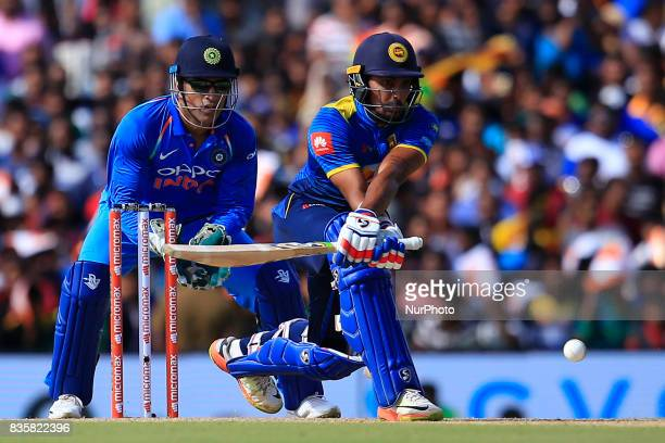 Sri Lankan cricketer Danushka Gunathilaka plays a shot during the 1st One Day International cricket match bewtween Sri Lanka and India at Dambulla...