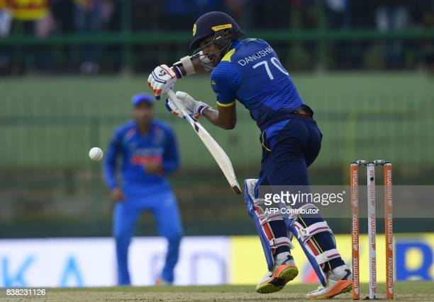 Sri Lankan cricketer Danushka Gunathilaka plays a shot during the second one day international cricket match between Sri Lanka and India at the...
