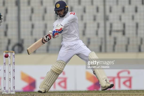 Sri Lankan cricketer Danushka Gunathilaka plays a shot during the second day of the second cricket Test between Bangladesh and Sri Lanka at the...