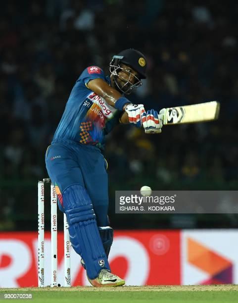 Sri Lankan cricketer Danushka Gunathilaka plays a shot during the third Twenty20 international cricket match between Bangladesh and Sri Lanka of the...