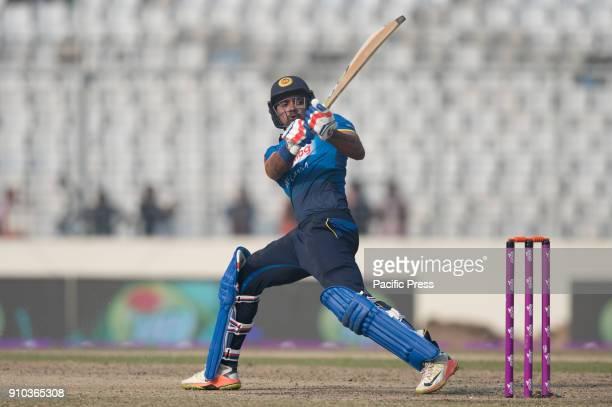 Sri Lankan cricketer Danushka Gunathilaka trying to play reverse sweep during the 6th ODI match in the Triseries between Sri Lanka vs Bangladesh at...