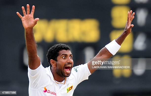 Sri Lankan cricketer Dhammika Prasad appeals during the fourth day of the second Test match between Sri Lanka and Pakistan at the P Sara Oval Cricket...