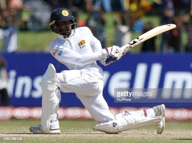 Sri Lankan cricketer Dhananjaya de Silva plays a shot during the 2nd day's play in the 3rd and final test cricket match between England and Sri Lanka...