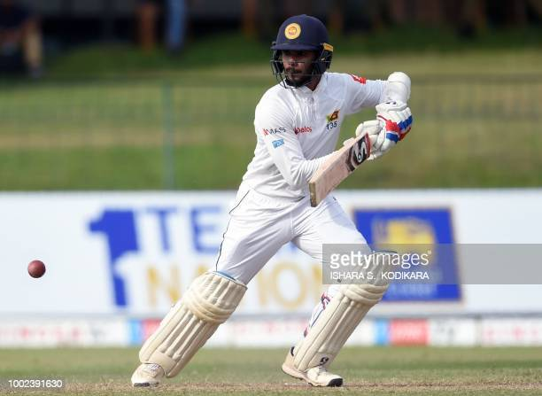Sri Lankan cricketer Dhananjaya De Silva plays a shot during the first day of the second Test match between Sri Lanka and South Africa at the...