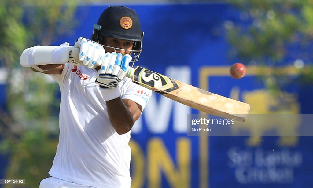 Sri Lankan cricketer Dimuth Karunaratne plays a shot during the 1st Day of of the 1st Test cricket match between Sri Lanka and South Africa at Galle International Cricket stadium, Galle, Sri Lanka on Thursday 12 July 2018