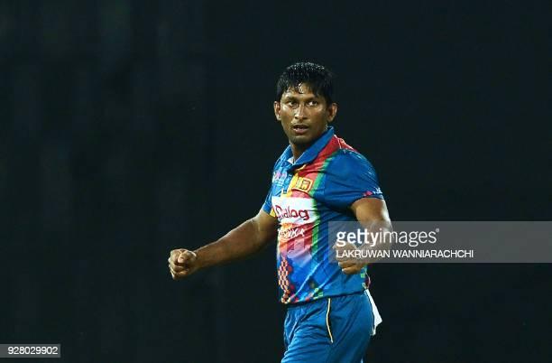 Sri Lankan cricketer Jeevan Mendis celebrates after he dismissed Indian cricketer Manish Pandey during the opening Twenty20 international cricket...