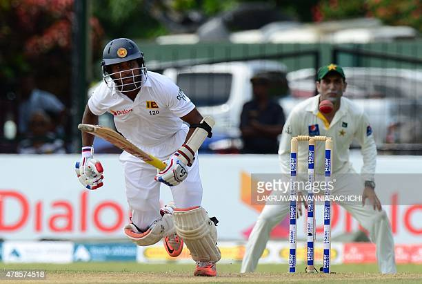 Sri Lankan cricketer Kaushal Silva runs between wickets during the second day of the second Test cricket match between Sri Lanka and Pakistan at the...