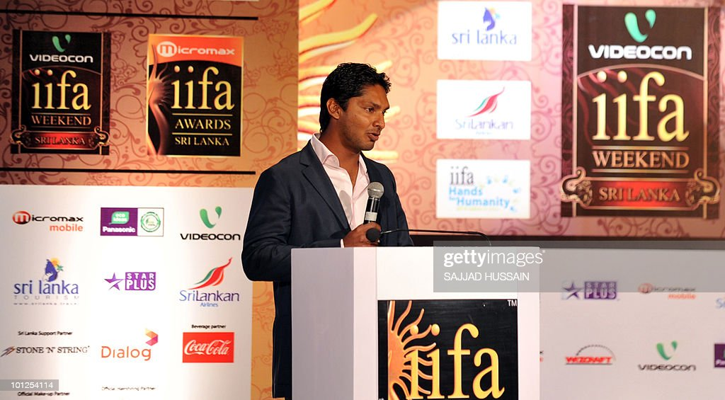 Sri Lankan cricketer Kumar Sangakkara speaks at a news conference in Mumbai on May 29, 2010 to promote The International Indian Film Academy (IIFA) awards. Sri Lanka will host top Indian movie stars for the annual 'Bollywood Oscars' weekend that showcases one of the world's most ambitious and prolific film industries. The June 3-5 event will feature performances, premieres, celebrity parties, workshops, business forums, fashion shows and a Twenty20 cricket match. AFP PHOTO Sajjad HUSSAIN