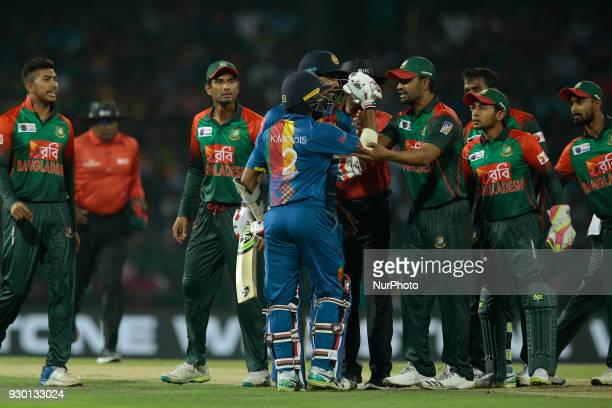 Sri Lankan cricketer Kusal Mendis and Bangladesh cricketers are seen in an argument during the 3rd T20 cricket match of NIDAHAS Trophy between Sri...