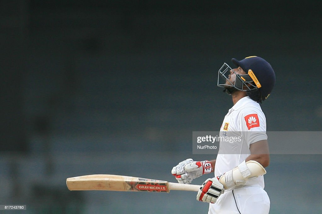 Sri Lankan cricketer Kusal Mendis looks up above after scoring 50 runs during the 4th day's play in the only Test match between Sri Lanka and Zimbabwe at R Premadasa International Cricket Stadium in the capital city of Colombo, Sri Lanka on Monday 17th July 2017