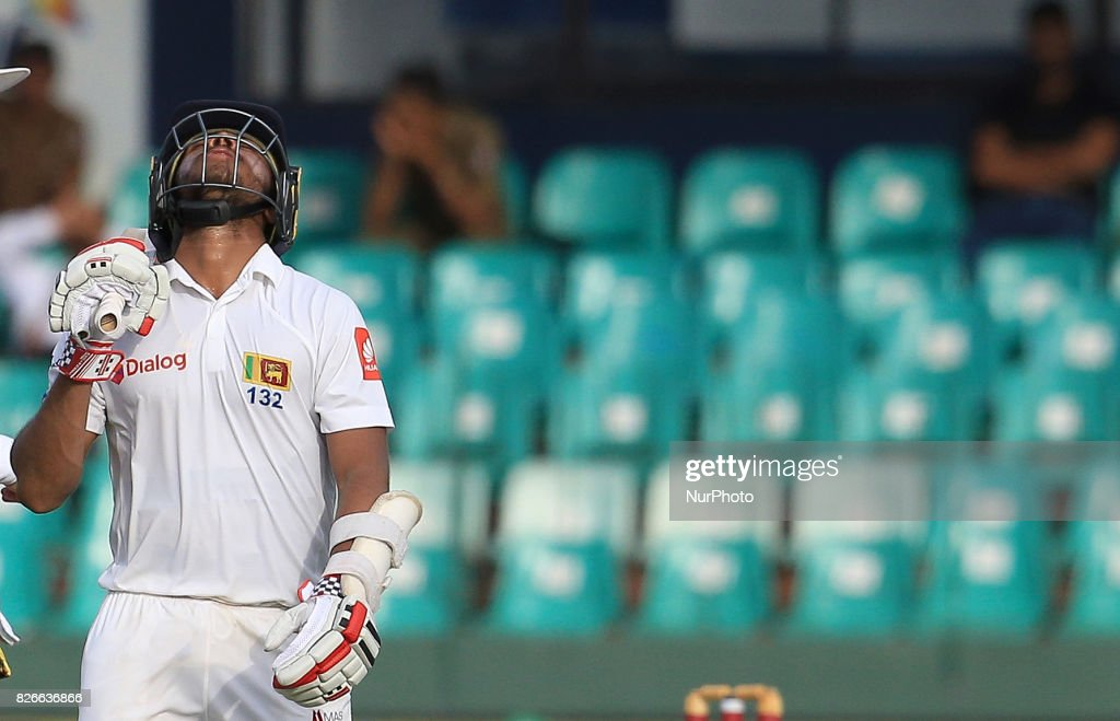 Sri Lankan cricketer Kusal Mendis reacts after his dismissal during the 3rd Day's play in the 2nd Test match between Sri Lanka and India at the SSC international cricket stadium at the capital city of Colombo, Sri Lanka on Saturday 5th August 2017.
