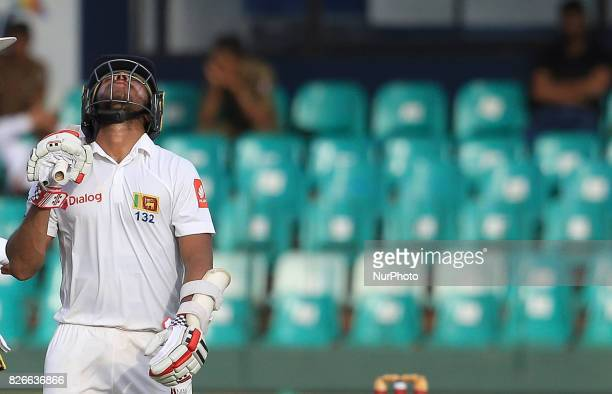 Sri Lankan cricketer Kusal Mendis reacts after his dismissal during the 3rd Day's play in the 2nd Test match between Sri Lanka and India at the SSC...