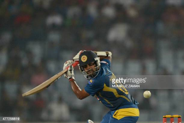 Sri Lankan cricketer Lahiru Thirimanne plays a shot during the final match of the Asia Cup oneday cricket tournament between Pakistan and Sri Lanka...