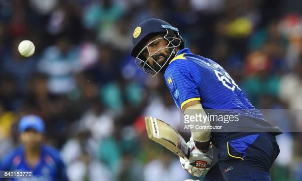 Sri Lankan cricketer Lahiru Thirimanne plays a shot during the final one day international cricket match between Sri Lanka and India at R Premadasa...