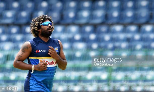 Sri Lankan cricketer Lasith Malinga takes part in a practice session at R Premadasa Stadium in Colombo on September 2 2017 The final one day...