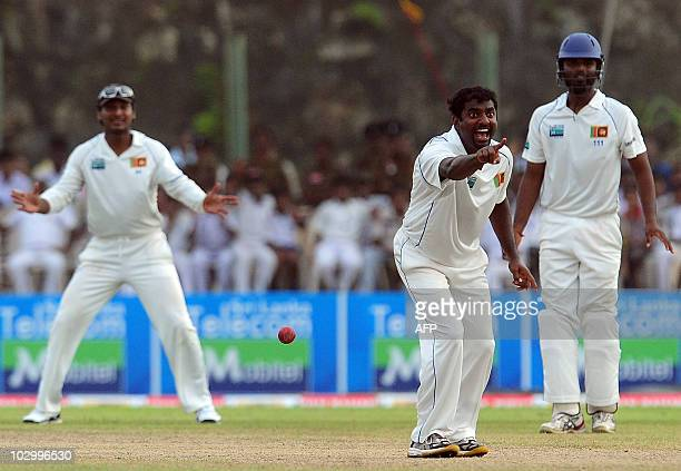 Sri Lankan cricketer Muttiah Muralitharan successfully appeals for a Leg Before Wicket decision against India cricketer Sachin Tendulkar during the...