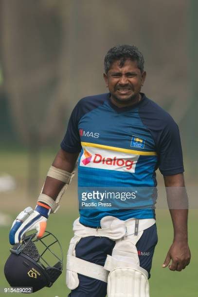 Sri Lankan cricketer Ranaga Herath walking off with a pain after he hits on the hand while his batting on the nets during a practice ahead of the...
