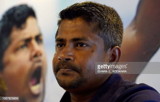 Sri Lankan cricketer Rangana Herath attends a media conference at the Galle International Cricket Stadium in Galle on November 5 2018 Sri Lanka who...