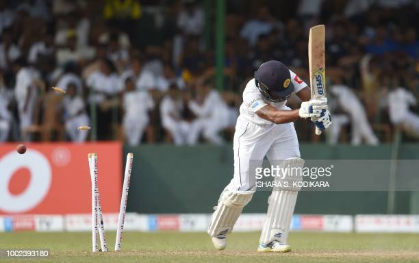 Sri Lankan cricketer Roshen Silva is dismissed by South Africa's Kagiso Rabada during the first day of the second Test match between Sri Lanka and...