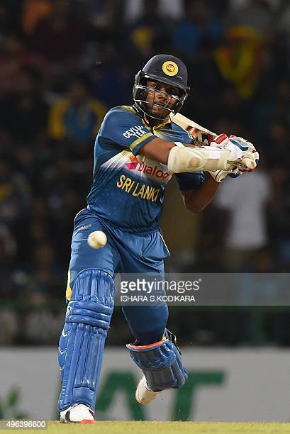 Sri Lankan cricketer Shehan Jayasuriya plays a shot during the first Twenty20 International cricket match between Sri Lanka and the West Indies at...
