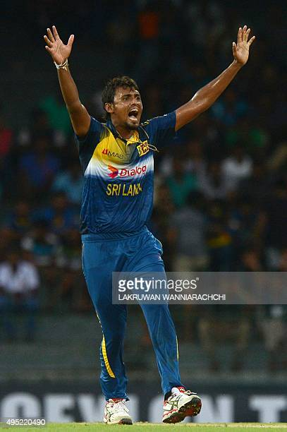 Sri Lankan cricketer Suranga Lakmal celebrates after he dismissed West Indies Cricketer Marlon Samuels during the first One Day International match...