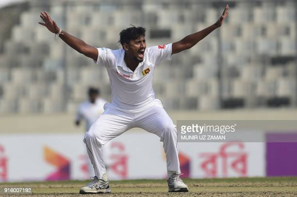 Sri Lankan cricketer Suranga Lakmal unsucessfully appeals for a leg before wicket decision of Bangladesh cricketer Mehedi Hasan during the second day...