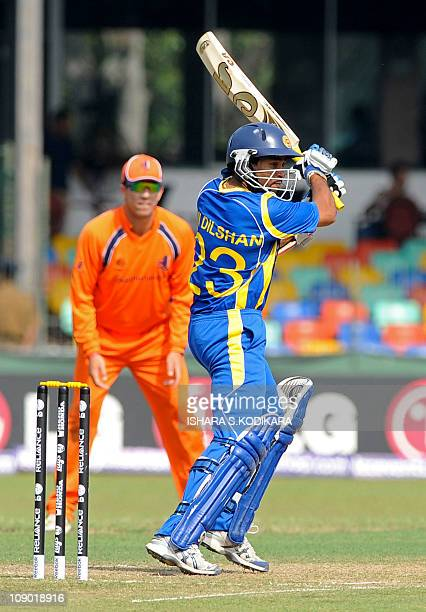 Sri Lankan cricketer Tillakaratne Dilshan plays a shot during a warm-up match between Sri Lanka and the Netherlands at the Sinhalese Sports Club...
