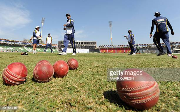 Sri Lankan cricketers take part in the team training session at the Gaddafi Cricket Stadium in Lahore on February 28 2009 Younus Khan feared Sri...