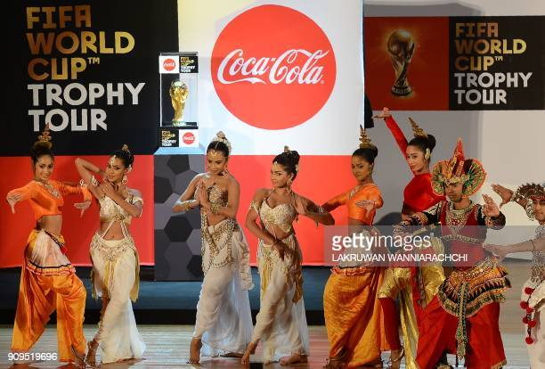 Sri Lankan dancers perform a traditional dance in a launch ceremony for the FIFA World Cup Trophy Tour in Colombo on January 24 2018 The FIFA World...